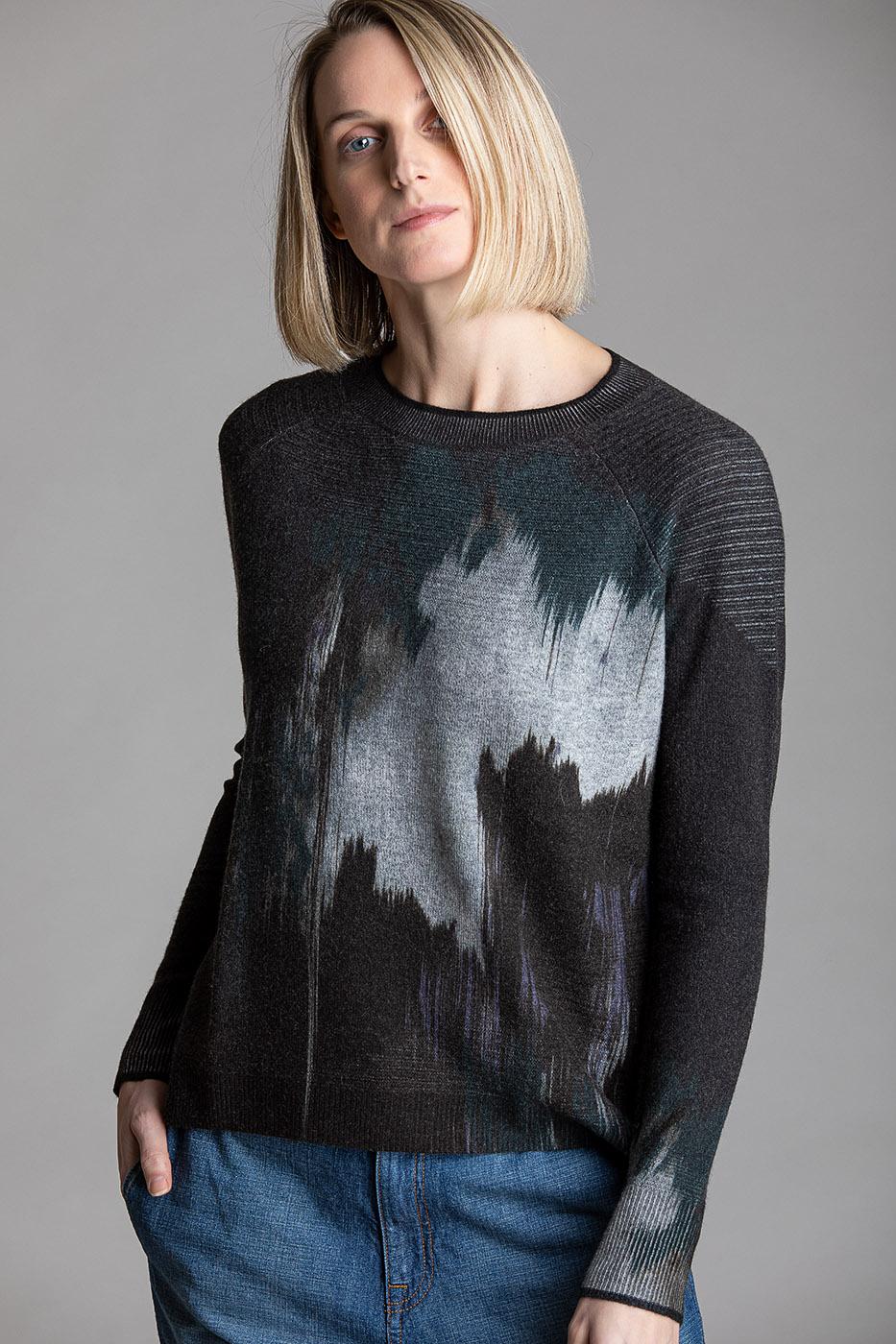 Paychi Guh   Splash Print Crew, Teal/Grey, 100% Cashmere