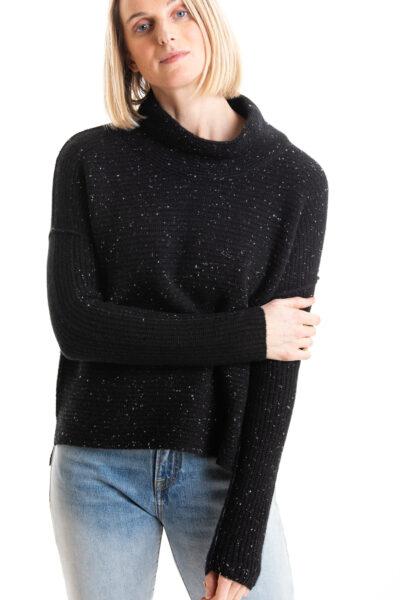 Paychi Guh   Speckled Mock, Black/Black, 100% Cashmere