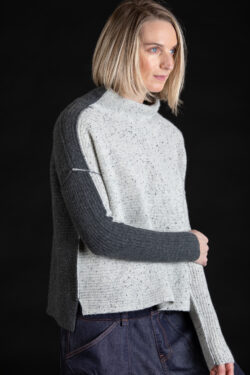 Paychi Guh | Speckled Mock, Grey/Thunder, 100% Cashmere