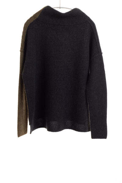 Paychi Guh | Speckled Mock, Moss/Charcoal, 100% Cashmere