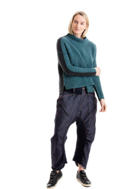 Paychi Guh | Speckled Mock, Teal/Charcoal, 100% Cashmere