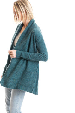 Paychi Guh | Speckled Cardigan, Teal Speckle, 100% Cashmere