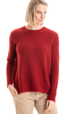 Paychi Guh | Dreamy Cable Crew, Garnet, 100% Dreamy Cashmere