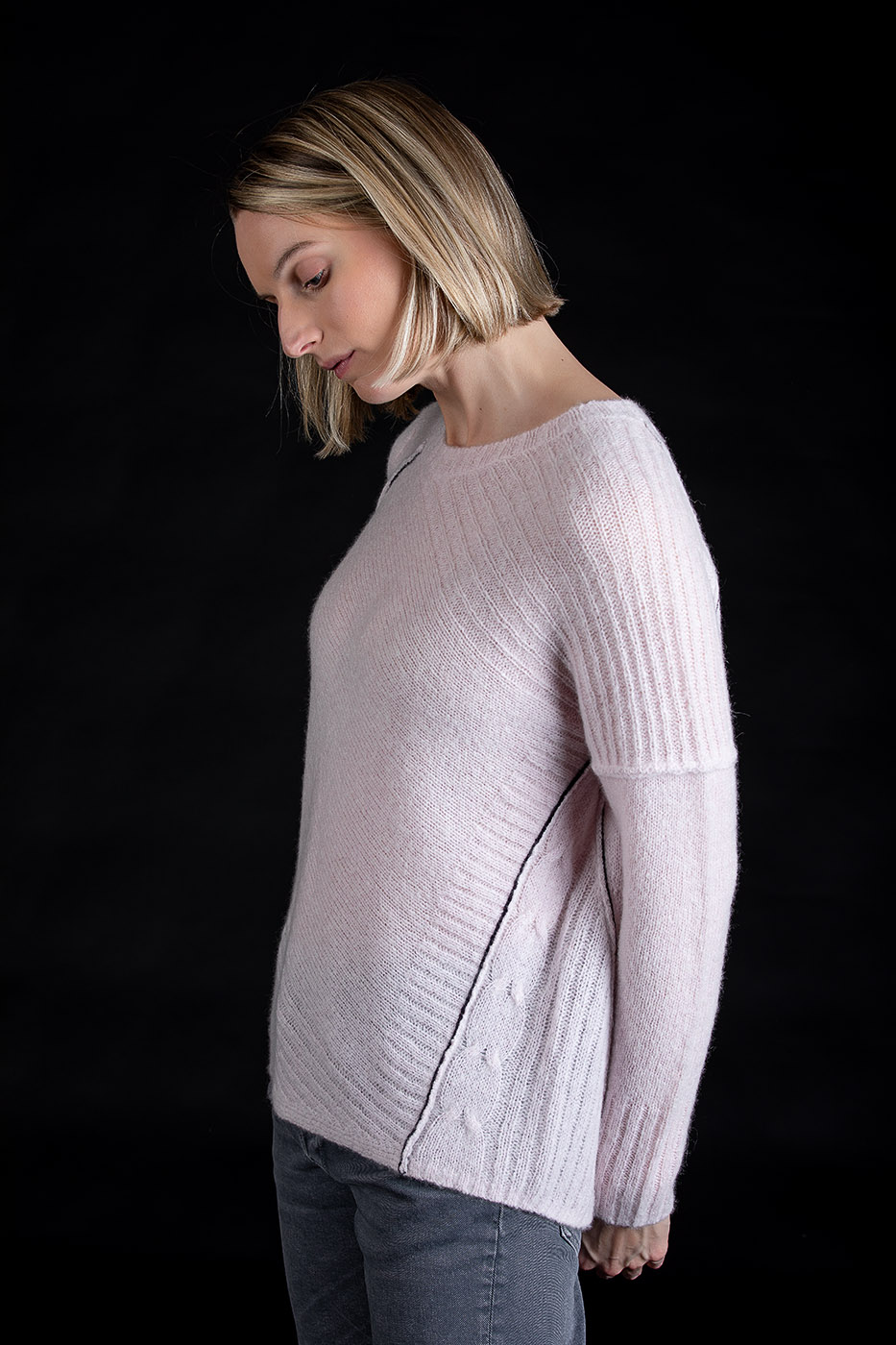 Paychi Guh | Dreamy Cable Crew, Lavender, 100% Dreamy Cashmere