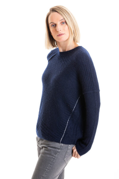 Paychi Guh | Dreamy Cable Crew, Navy, 100% Dreamy Cashmere