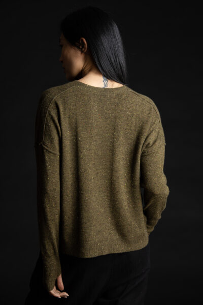 Paychi Guh | Speckled Crew, Moss Speckle, 100% Cashmere