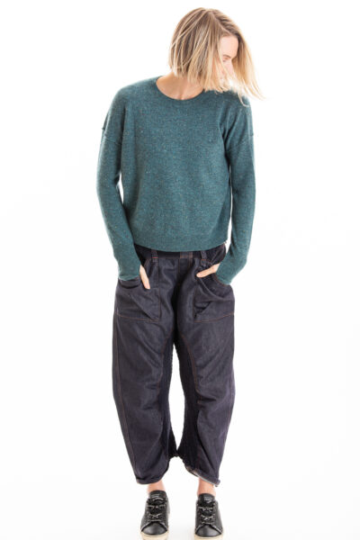 Paychi Guh | Speckled Crew, Teal Speckle, 100% Cashmere