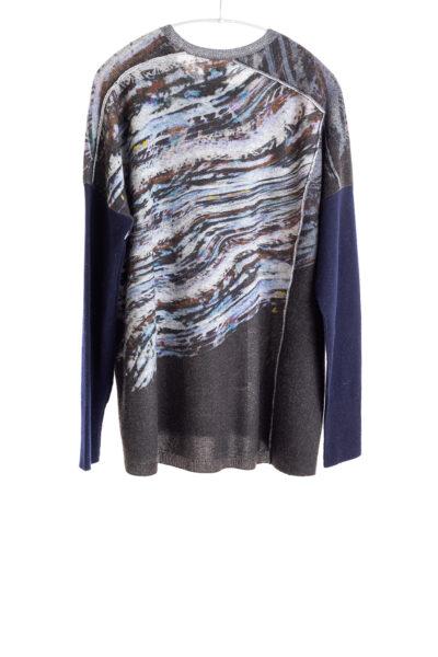 Paychi Guh | Glacier Panel Crew, Flannel/Thunder, 100% Cashmere