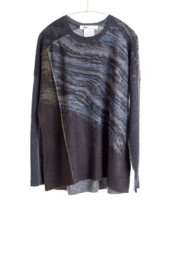 Paychi Guh | Glacier Panel Crew, Thunder/Charcoal, 100% Cashmere