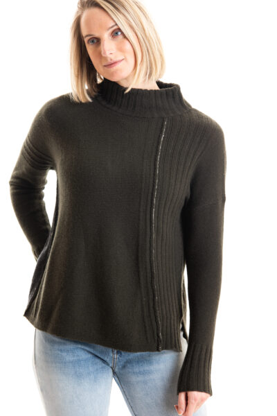 Paychi Guh | Contrast Mock, Military/Charcoal, 100% Cashmere