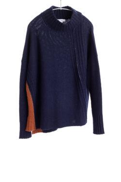Paychi Guh | Contrast Mock, Navy/Spice, 100% Cashmere
