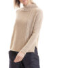 Paychi Guh | Contrast Mock, Wheat/Military, 100% Cashmere