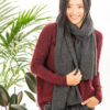 Paychi Guh | Textured Scarf, Charcoal, 100% Cashmere