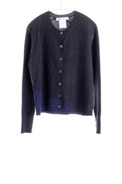 Paychi Guh | Crew Cardigan, Black/Navy, 100% Cashmere