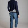 Paychi Guh   Crew Cardigan, Navy/Flannel, 100% Cashmere