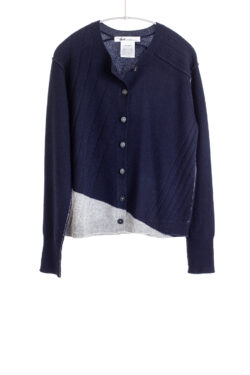 Paychi Guh | Crew Cardigan, Navy/Flannel, 100% Cashmere