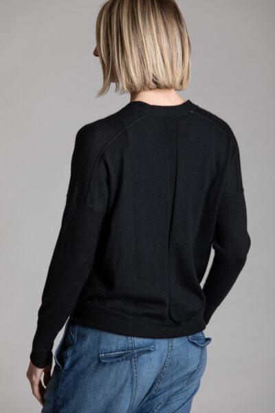 Paychi Guh | V-Neck Cardigan, Black, 100% Worsted Cashmere