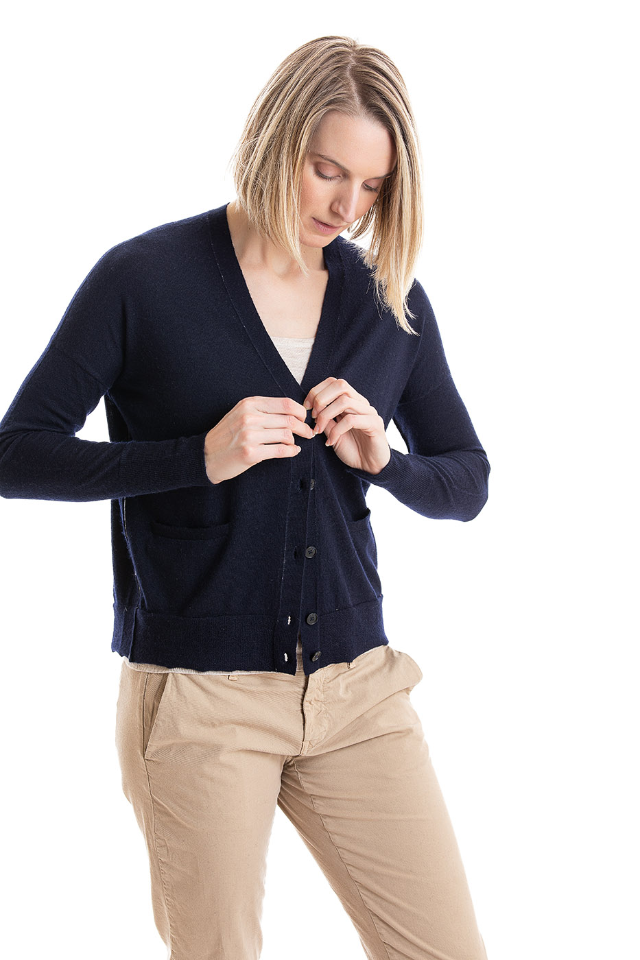 Paychi Guh | V-Neck Cardigan, Navy, 100% Worsted Cashmere