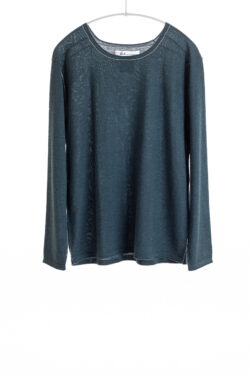 Paychi Guh | Easy Crew, Dark Teal, 100% Worsted Cashmere