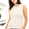 Paychi Guh | Crewneck Tank, Cheesecake, 100% Worsted Mongolian Cashmere