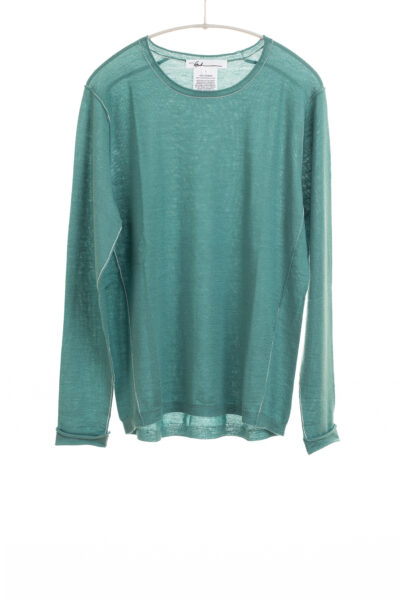 Paychi Guh | L/S Baby Tee, Sea Green, 100% Worsted Cashmere