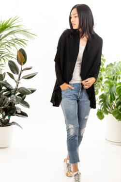 Paychi Guh | Wrap Cardigan, Black, Superfine 70% Worsted Cashmere 30% Silk