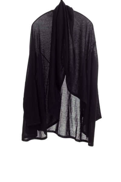 Paychi Guh | Wrap Cardigan, Black, Superfine 70% Worsted Cashmere 30% Silk