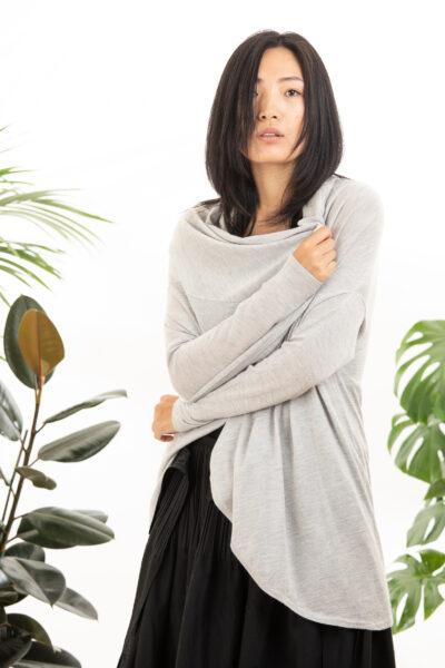 Paychi Guh | Wrap Cardigan, Dove Grey, Superfine 70% Worsted Cashmere 30% Silk