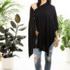 Paychi Guh | Button Wrap, Black, Superfine 70% Worsted Cashmere 30% Silk