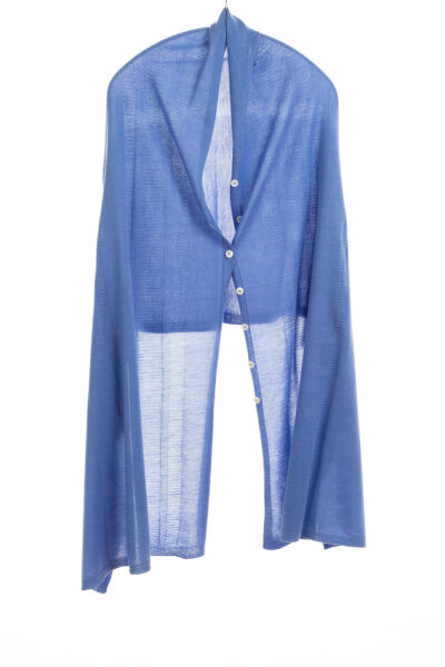 Paychi Guh | Button Wrap, Blue, Superfine 70% Worsted Cashmere 30% Silk