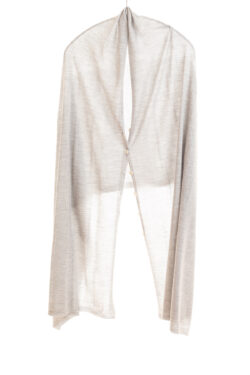Paychi Guh | Button Wrap, Dove Grey, Superfine 70% Worsted Cashmere 30% Silk
