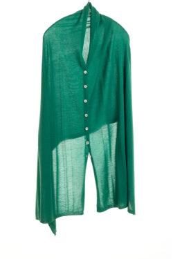 Paychi Guh | Button Wrap, Green, Superfine 70% Worsted Cashmere 30% Silk