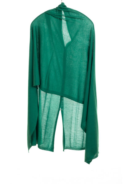Paychi Guh | Button Wrap, Green, Superfine 70% Worsted Cashmere 30% Silk