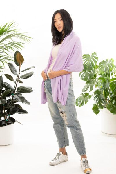 Paychi Guh | Button Wrap, Lavender, Superfine 70% Worsted Cashmere 30% Silk