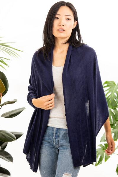 Paychi Guh   Button Wrap, Navy, Superfine 70% Worsted Cashmere 30% Silk