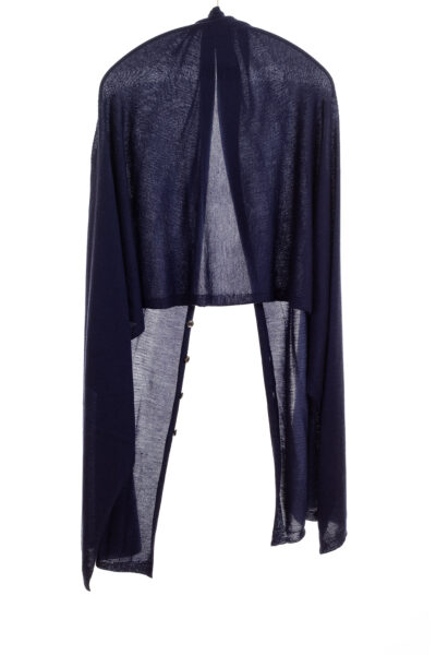 Paychi Guh | Button Wrap, Navy, Superfine 70% Worsted Cashmere 30% Silk