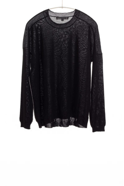 Paychi Guh | L/S Textured Crew, Black, Superfine 70% Worsted Cashmere 30% Silk