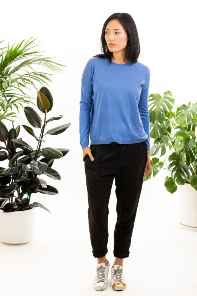 Paychi Guh | L/S Textured Crew, Blue, Superfine 70% Worsted Cashmere 30% Silk