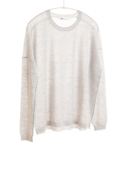 Paychi Guh | L/S Textured Crew, Dove Grey, Superfine 70% Worsted Cashmere 30% Silk