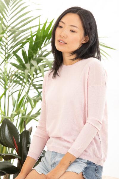 Paychi Guh | L/S Textured Crew, Fluff, Superfine 70% Worsted Cashmere 30% Silk