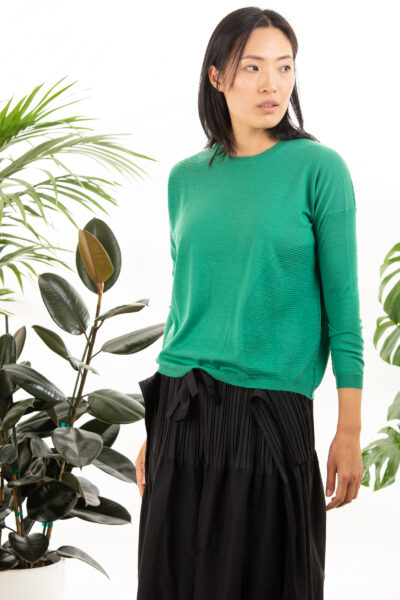 Paychi Guh | L/S Textured Crew, Lush Green, Superfine 70% Worsted Cashmere 30% Silk