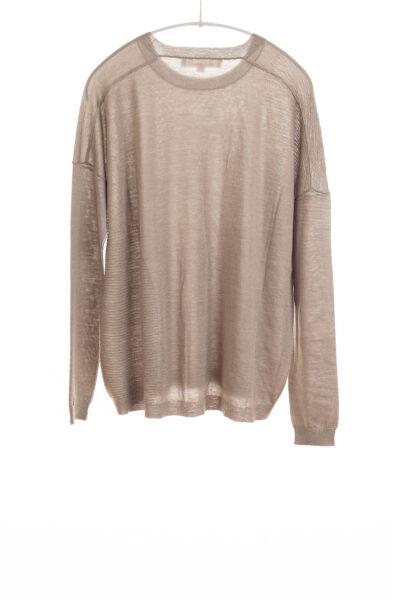 Paychi Guh | L/S Textured Crew, Latte, Superfine 70% Worsted Cashmere 30% Silk