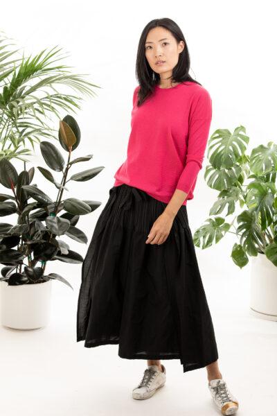 Paychi Guh | L/S Textured Crew, Punch, Superfine 70% Worsted Cashmere 30% Silk