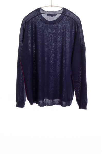 Paychi Guh | L/S Textured Crew, Navy, Superfine 70% Worsted Cashmere 30% Silk