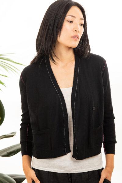 Paychi Guh | Asymmetrical Cardigan, Black, 100% Worsted Cashmere