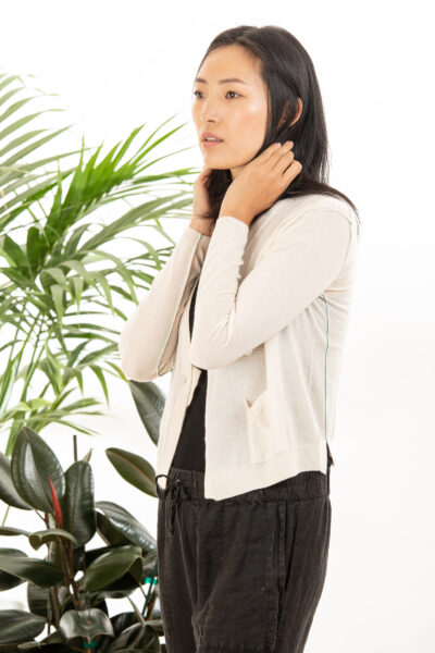 Paychi Guh | Asymmetrical Cardigan, Cheesecake, 100% Worsted Cashmere