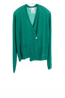 Paychi Guh | Asymmetrical Cardigan, Lush Green, 100% Worsted Cashmere