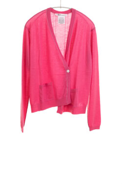 Paychi Guh | Asymmetrical Cardigan, Punch, 100% Worsted Cashmere