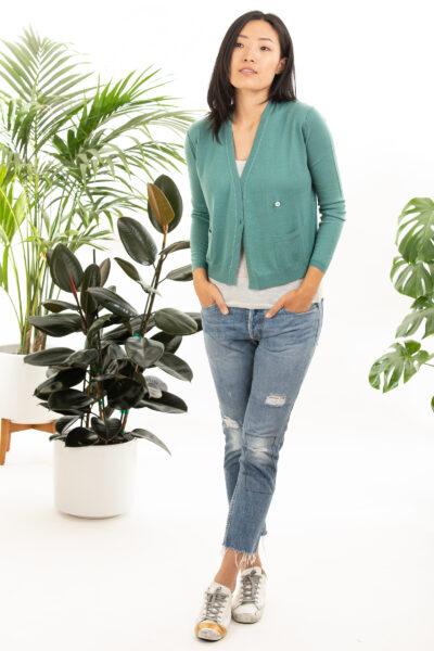 Paychi Guh | Asymmetrical Cardigan, Sea Green, 100% Worsted Cashmere