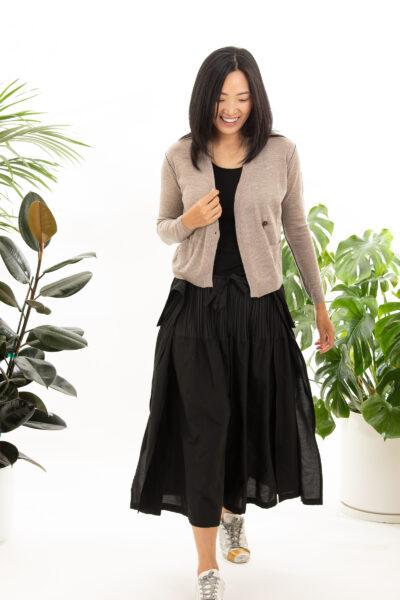 Paychi Guh   Asymmetrical Cardigan, Walnut, 100% Worsted Cashmere